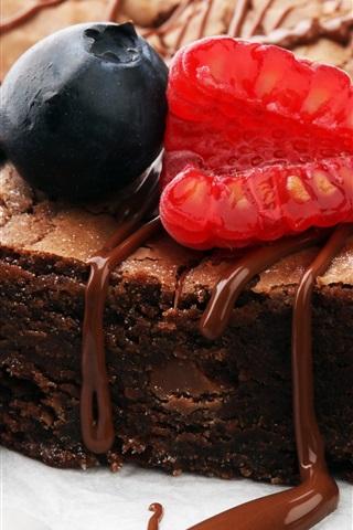 iPhone Wallpaper Chocolate cake, raspberry, blueberry, dessert