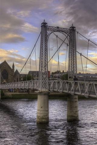 iPhone Wallpaper City, bridge, river, church, clouds, dusk