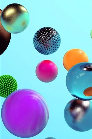 iPhone Papéis de Parede Bolas coloridas, estilo diferente, design 3D