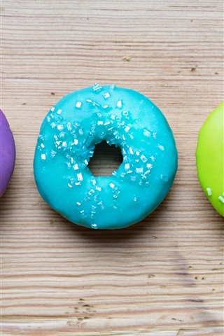 iPhone Wallpaper Colorful donuts, rainbow colors