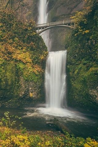 iPhone Wallpaper Columbia River Gorge, Multnomah falls, Benson Bridge, autumn