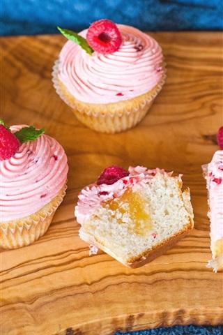 iPhone Wallpaper Cupcakes, raspberry