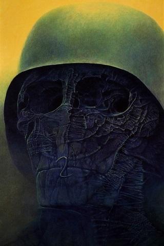 iPhone Wallpaper Death, skull, helmet, horror, art picture