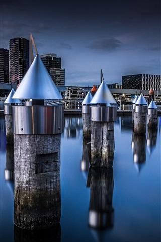 iPhone Wallpaper Docklands, Melbourne, Victoria, Australia, night, city, water, stump