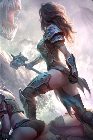 iPhone Wallpaper Dragons of Eternity, game art picture, girl, warrior