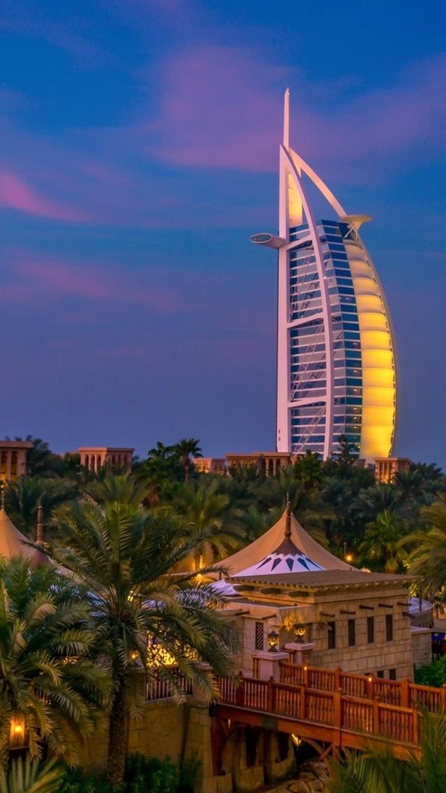 Dubai Night City Trees River Villa 640x1136 Iphone 5 5s