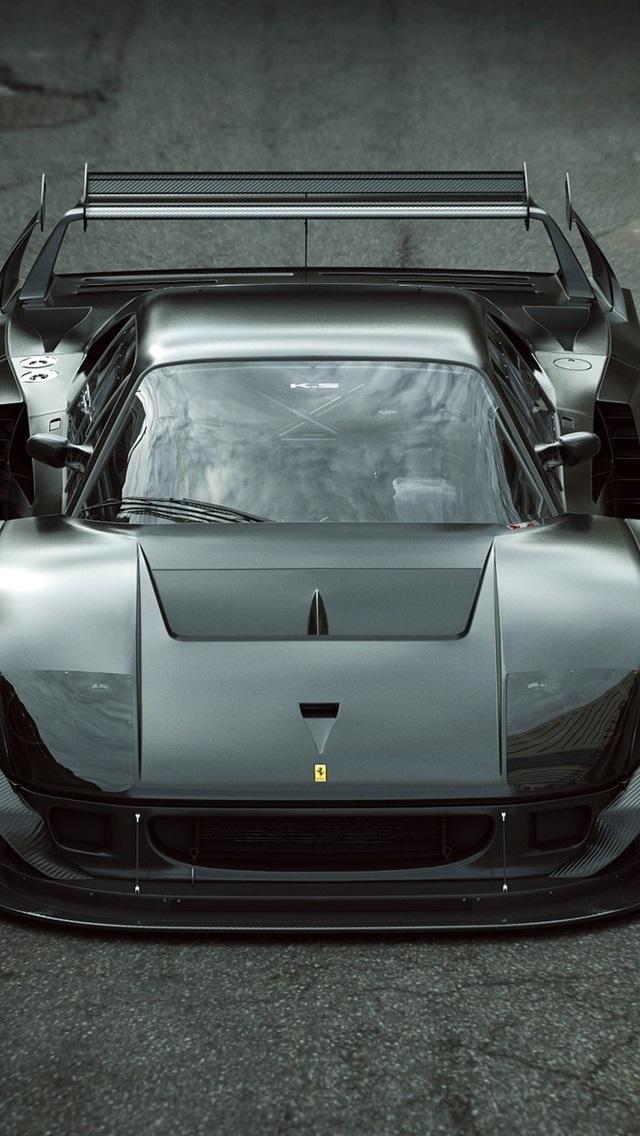壁紙 フェラーリf40 Lmブラックスーパーカーフロントビュー 19x10 Hd 無料のデスクトップの背景 画像