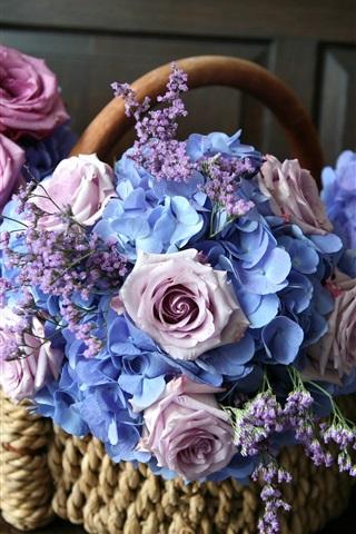 iPhone Wallpaper Flowers, basket, pink roses, blue hydrangea