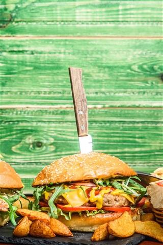 iPhone Wallpaper Food, burgers, fried potatoes, food