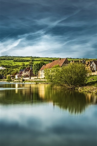 iPhone Wallpaper France, Normandy, houses, lake, hills, clouds