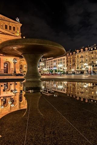 iPhone Wallpaper Frankfurt am Main, Germany, Old Opera, reflection, night
