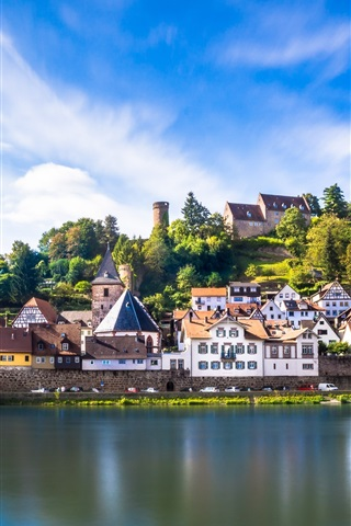 iPhone Wallpaper Germany, Hessen, Hirschhorn, houses, town, river, blue sky