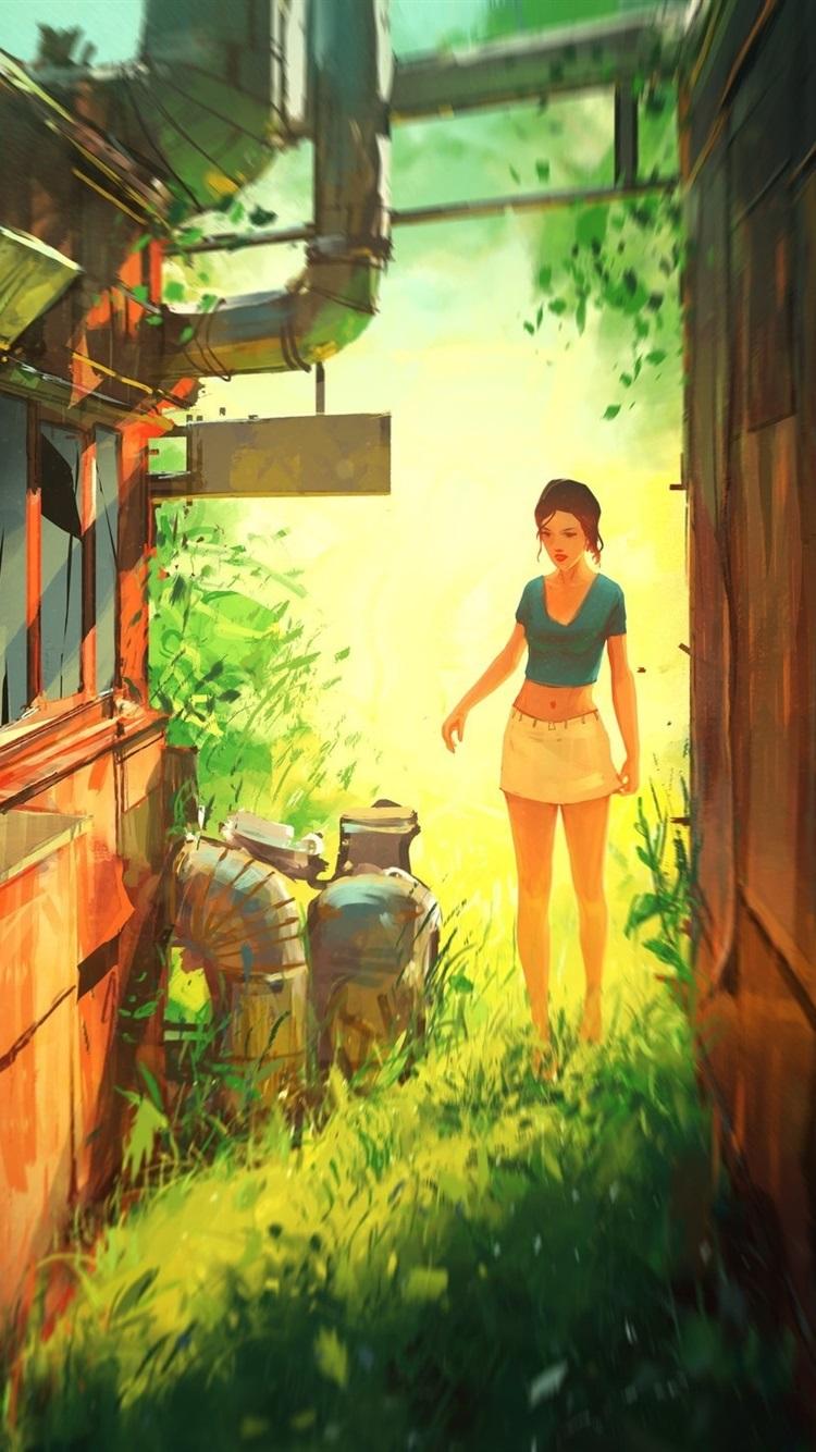 https://s2.best-wallpaper.net/wallpaper/iphone/1806/Girl-house-grass-outside-sketches_iphone_750x1334.jpg