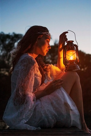 iPhone Wallpaper Girl, lamp, dock, river, darkness