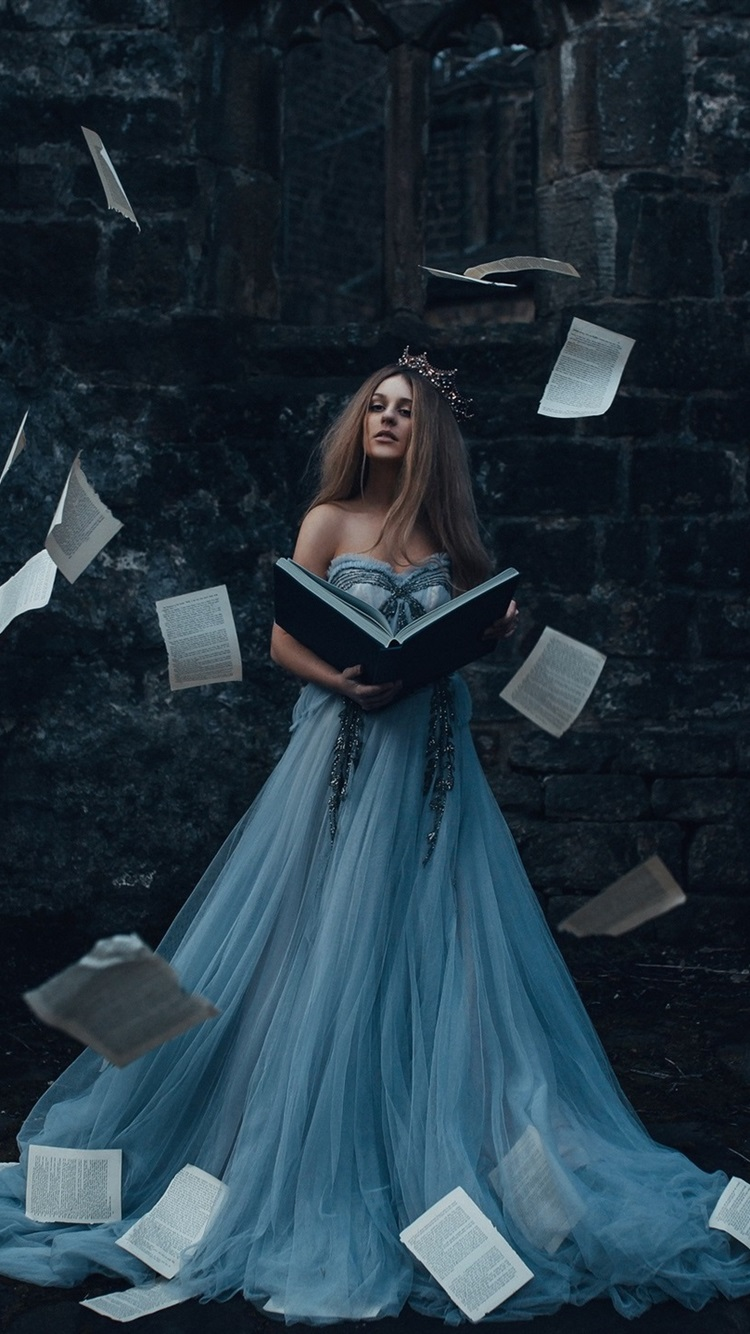 Wallpaper Girl Reading Book Skirt Paper Flight 1920x1440