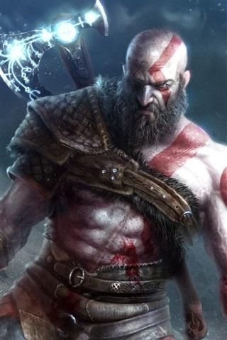 iPhone Wallpaper God of War 4, video games