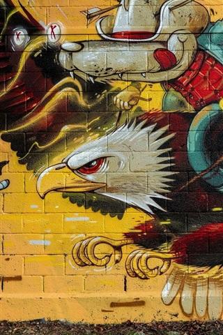 iPhone Wallpaper Graffiti, wall, eagle, wolf knight