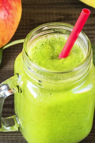 iPhone Wallpaper Green smoothies, ginger, apples, banana, drinks