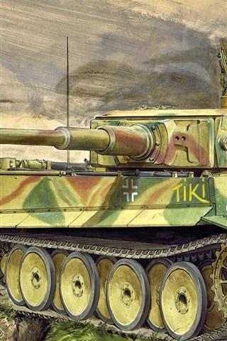 iPhone Wallpaper Heavy tank, art picture