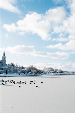 iPhone Wallpaper Iceland, Reykjavik, winter, snow, city, cold