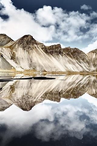 iPhone Wallpaper Iceland, Vestrahorn mountain, water reflection, sea