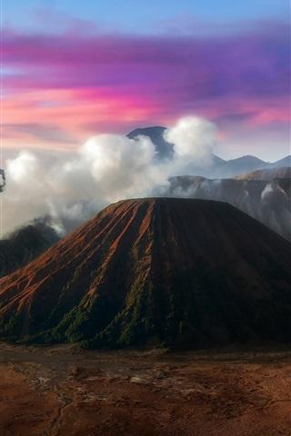 iPhone Wallpaper Java, Indonesia, mountains, volcano, smoke