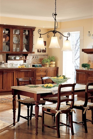 iPhone Wallpaper Kitchen, dining room, interior, table, furniture