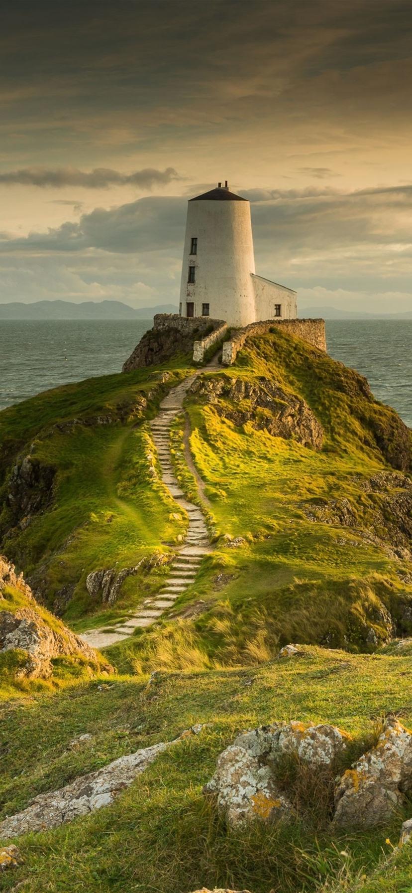 Lighthouse Sea Grass 1080x1920 Iphone 8 7 6 6s Plus