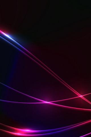 iPhone Обои Линии, красочные, абстрактные, черный фон