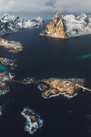 iPhone Wallpaper Lofoten Islands, Norway, fjord, sea, mountains, snow, winter, top view