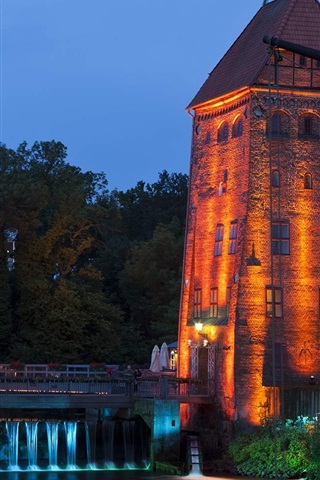 iPhone Wallpaper Luneburg, Lower Saxony, Germany, night, lights