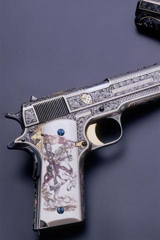 iPhone Wallpaper M1911 guns, engraving, weapon