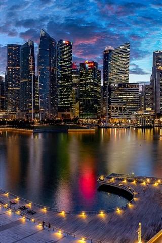 Marina Bay Singapore City Night Lights 640x1136 Iphone 5