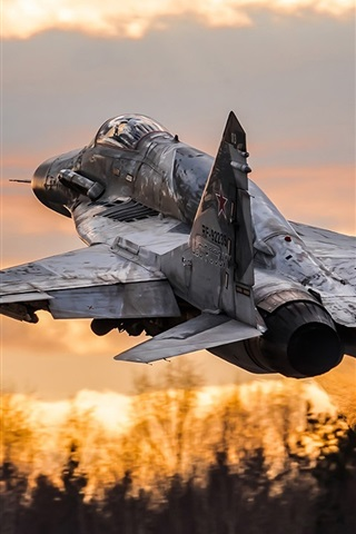 iPhone Wallpaper MiG-29SM multipurpose fighter take off