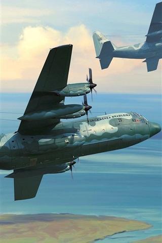 iPhone Papéis de Parede Aeronaves militares, céu, nuvens, desenho de arte