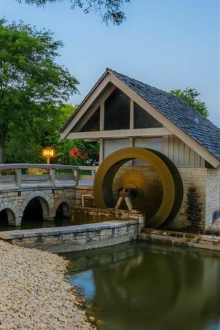 iPhone Wallpaper Mill, bridge, lights, trees, river, dusk