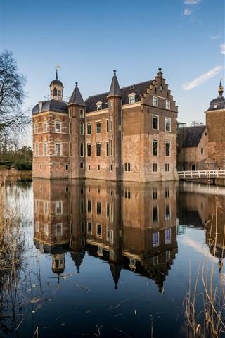 iPhone Wallpaper Netherlands, castle, river, water reflection, reeds