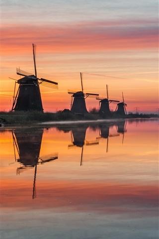 iPhone Wallpaper Netherlands, windmills, river, water, morning, fog