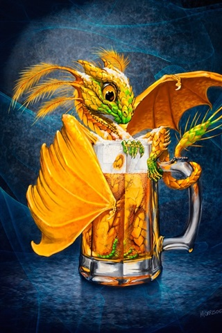 iPhone Wallpaper One cup beer, dragon, creative picture