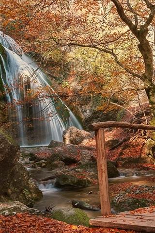 iPhone Wallpaper Park, bridge, waterfall, path, red leaves, autumn