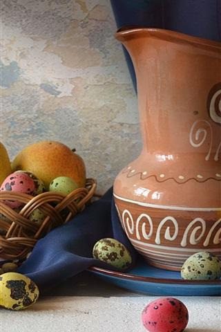 iPhone Wallpaper Pears, eggs, lemon, kettle, still life