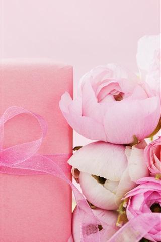iPhone Wallpaper Pink roses, gift, ribbon