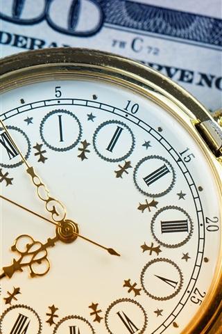 iPhone Wallpaper Pocket watch, clock, dollar