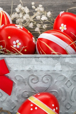 iPhone Wallpaper Red Easter eggs, hay
