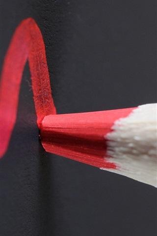 iPhone Wallpaper Red pencil, blackboard