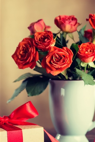 iPhone Wallpaper Red roses, cup, gift, romantic