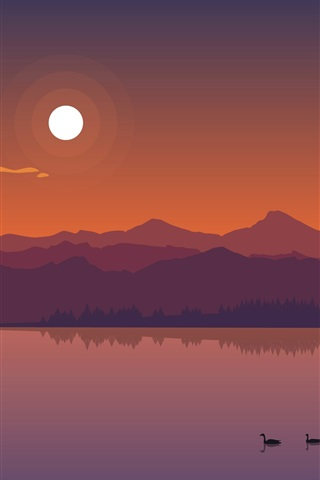 iPhone Wallpaper River, mountains, ducks, sun, dusk, vector art picture