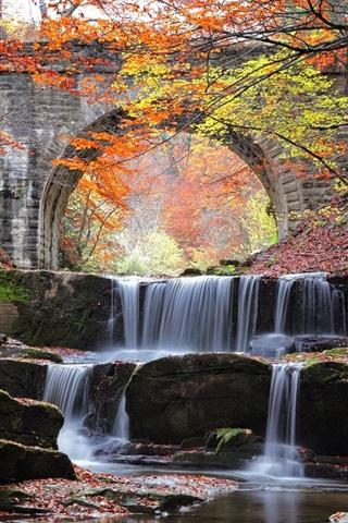iPhone Wallpaper River, waterfall, bridge, stones, trees, autumn