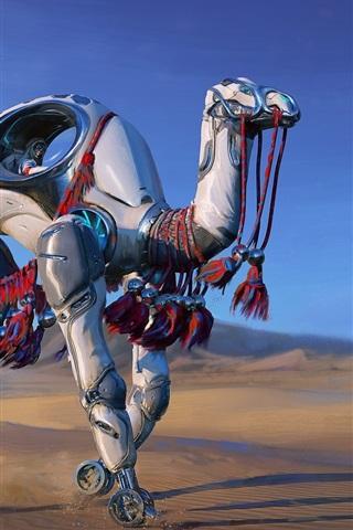iPhone Wallpaper Robot camel, desert, fantasy, art picture