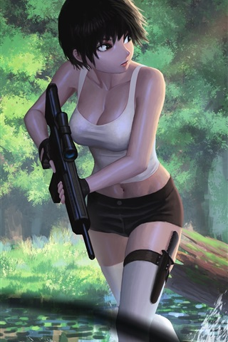 iPhone Wallpaper Short hair girl, weapons, robot, jungle, art picture